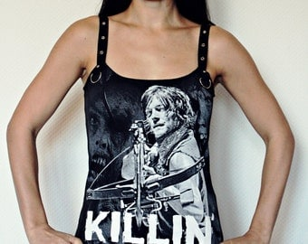 Walking Dead Daryl shirt Horror Tank Top halloween zombie gothic alternative clothing reconstructed