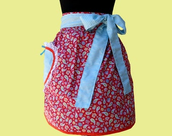 Apron -  women's half apron red and blue plaid kitchen apron READY TO SHIP