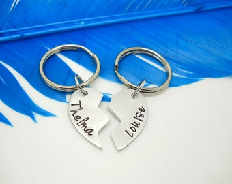 Personalized Keychain - 2 piece key chain set -  Hand Stamped - Thelma and Louise - custom jewelry - Best Friends Heart keychain