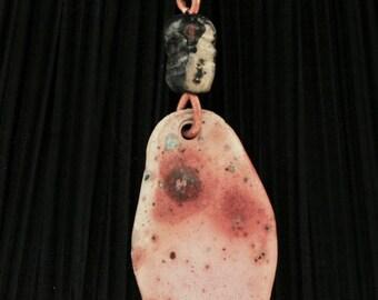 hand made ceramic pendant, sagger fired sp33