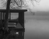 Lake Photography, Foggy Morning, Louisiana, Nature Photography, Black and White Fine Art Photograph, Water Reflection, Boathouse, Misty
