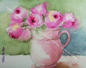 Watercolor Painting of Pink Roses Print Flowers Floral Bouquet Garden Botanical