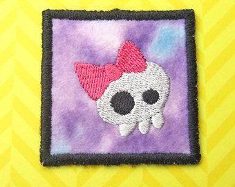 Iron on Patch, Mini Girlie Skull Patch, Pink and Purple, Embroidered Skull with Bow, Applique, Geekery, Embellishment