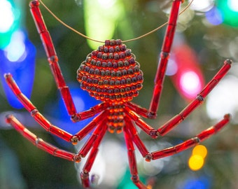 Garnet Red Christmas Beaded Spider Ornament