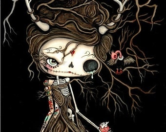 Sugar Skull Tree Dead Girl Print Cute Dead Forest Heart Love Sad Skeleton Vulture Bird Wall Art