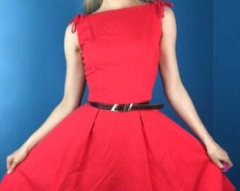 Cherry Bomb 50s 60s Vintage Cotton Pique Dress +Bows S/Small Super Cute!
