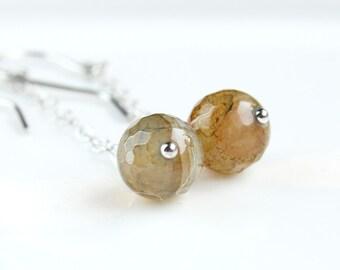 Long Dangle Earrings Sterling Silver  Agate Jewelry Gemstone Jewellery  Gem Stone Earthtones Moss Green Customized Finish