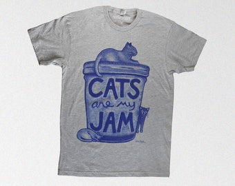 Cat Lover Gift : Cats are my Jam cat shirt, mens funny tshirt, graphic tee men christmas gift for cat mom unisex cat shirt gift plus size
