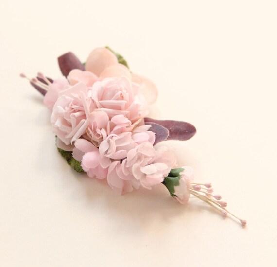 Pink flower clip, Rose bridal clip, Unique floral wedding hair accessory, Updo side bun back clip, Blush bridal clip, Pastel pink flowers