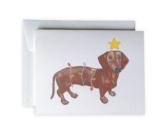 Holiday Daschund Greeting Card or Notecard Set