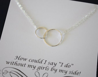 Double Ring Necklace Silver, Infinite necklace, Infinity Jewelry, Best friend Gift,  Sterling Silver Necklace, Karma, Circles
