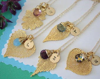 Personalized Initial Leaf Necklace, Gemstone Gold Leaf, Charm, Monogram, Initial Jewelry, Bridesmaid Gift, Birthstone, Choose your Leaf