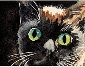 Halloween Black Cat Art / Watercolor PRINT / Kitty Animal art / Black kitty painting / Kitten art / Children's decor by Green eyes / Cat