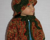 18 inch doll clothes, crochet doll cardigan/sweater, crochet hat with bow, upbeat petites