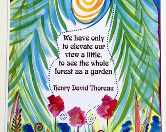 We Have Only to ELEVATE Our VIEW THOREAU Inspirational Mindfulness Spiritual Seeker Motivational Quote Heartful Art by Raphaella Vaisseau