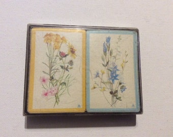 Two Decks of Vintage Blue and Yellow Flowers Playing Cards
