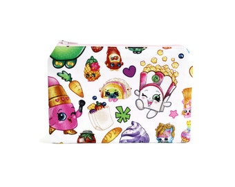 Shopkins Zipper Pouch / Adorable Shopkins Change Wallet / Childrens Shopkins Coin Purse Bag
