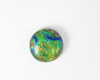 Dichroic Fused Glass Cabochon - Yellow Green Blue - 16110 - 17mm x 18mm