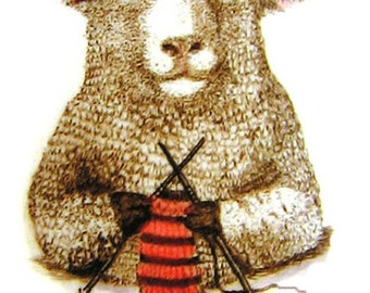 sheep ewe knitting wool yarn scarf moosup valley designs giclee print