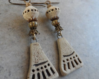 Timeworn Treasures ... Natural Rustic Ceramic and Brass Wire-Wrapped Rustic, Boho, Earthy, Primitive, Heirloom Earrings