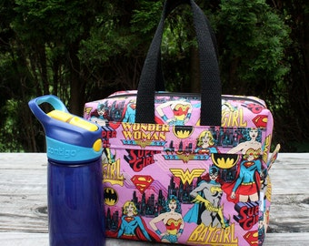 Insulated Lunch Bag Lunch Box Cooler Rectangle Girl Power Wonder Woman Batgirl Supergirl Made To Order