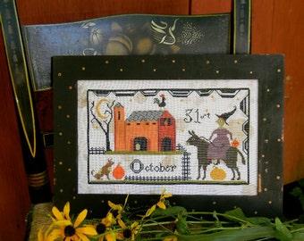Hallowe'en Barnyard - primitive Cross Stitch PAPER PATTERN - from Notforgotten Farm™