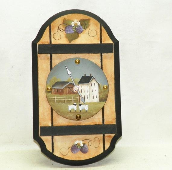 Kitchen Folk Art: Kitchen Wall Clock Hand Painted Primitive Folk Art Country