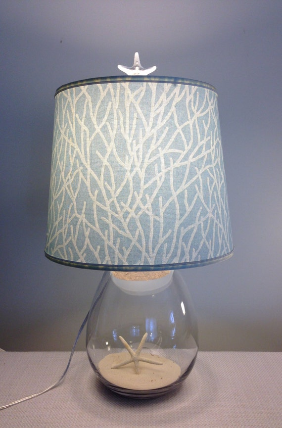 Fillable Lamp With Coral Fabric Design Lampshade Fillable