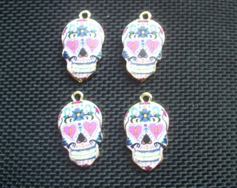 4 Day of Dead Skulls Gold Tone Charms