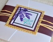 Pocket Fold Wedding Invitation Design Fee (Purple Palm Tree Design with Japanese Cane Paper and Raffia)
