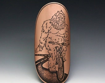Sasquatch on a bicycle, sasquatch, head badge, bicycle badge, sasquatch art, yeti, bicycle accessories, custom badge, big foot, bike badge