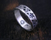 Made to order rustic star field ring, sterling silver space band with dark antique patina