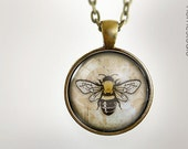 Honey Bee : Glass Dome Necklace, Pendant or Keychain Key Ring. Gift Present metal round art photo jewelry HomeStudio. Silver Copper Bronze