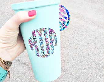 Lilly Pulitzer Inspired Monogram Decals / Monogram Sticker / Vinyl Decal / Monogram Car Decal / Yeti Tumbler Decal / Personalized Car Decal