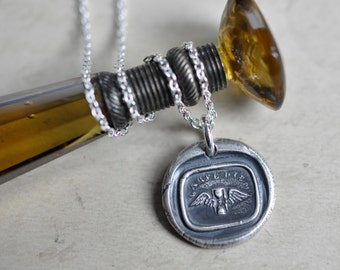 winged hourglass wax seal necklace ... carpe diem - seize the day - Georgian wax seal jewelry