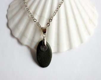River Rock Pendant Necklace Silver Charm Eco Friendly Reclaimed Black Beach Stone Jewelry by Hendywood