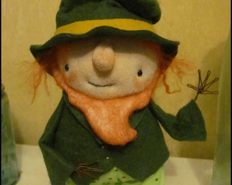 Leprechaun St Patrick's day standing spring Doll low brow Whimsical goth primitive creepy cute country  decor Farm Quirky hafair ofg team