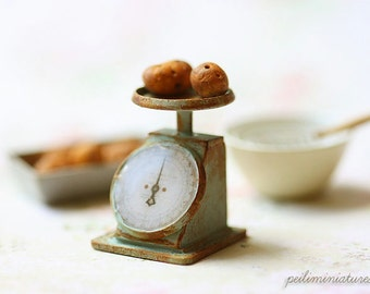 Dollhouse Miniature - Vintage Kitchen Scale in Turquoise