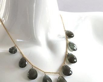 Moss Aquamarine Teardrop Drape Necklace in Gold Vermeil