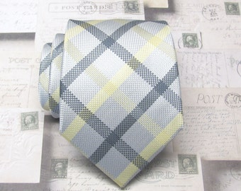 Mens Tie. Gray Yellow Silver Plaid Mens Necktie with Matching Pocket Square Option