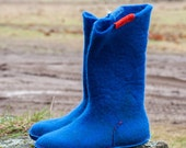 Blue boots Felt wool boots Natural boiled wool booties Winter gift for her