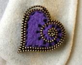 Purple felt and zipper heart brooch