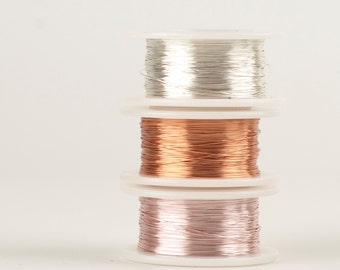 Craft Wire in PASTEL Colors, 28 gauge Extra long Craft Wire spools 360 feet,  Rose gold delicate copper and white silver, non tarnish wires