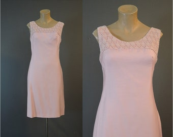 Vintage Pink Dress with Lace Neckline, 33 inch bust, small Vintage 1960s Shift dress