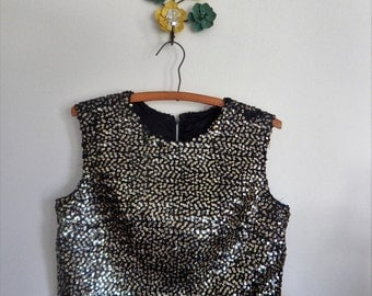vintage 1960s sequined black and gold shell top / 60s embellished evening top