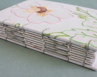 Tea Time Vintage Linen Hardcover Embroidered Journal 01 by PrairiePeasant