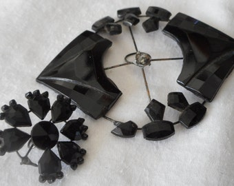 Lot of 2  ANTIQUE Black Faceted Glass Open Metal BUTTONS