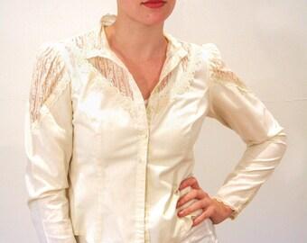 70s Gunne Sax Peasant Blouse, Cream Cotton Lace Granny Blouse, Lacey Boho Prairie Blouse, Victorian Style Blouse, Size S Petite