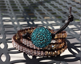 multi bead leather crystal wrap bracelet with button closure