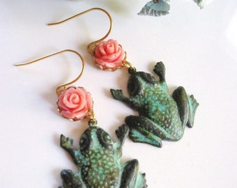 Patina Frog Earrings, Pink Flower Earrings, Verdigris Patina, Garden Jewelry, Botanical Earrings, Bohemian, Vintage style, Gardendiva
